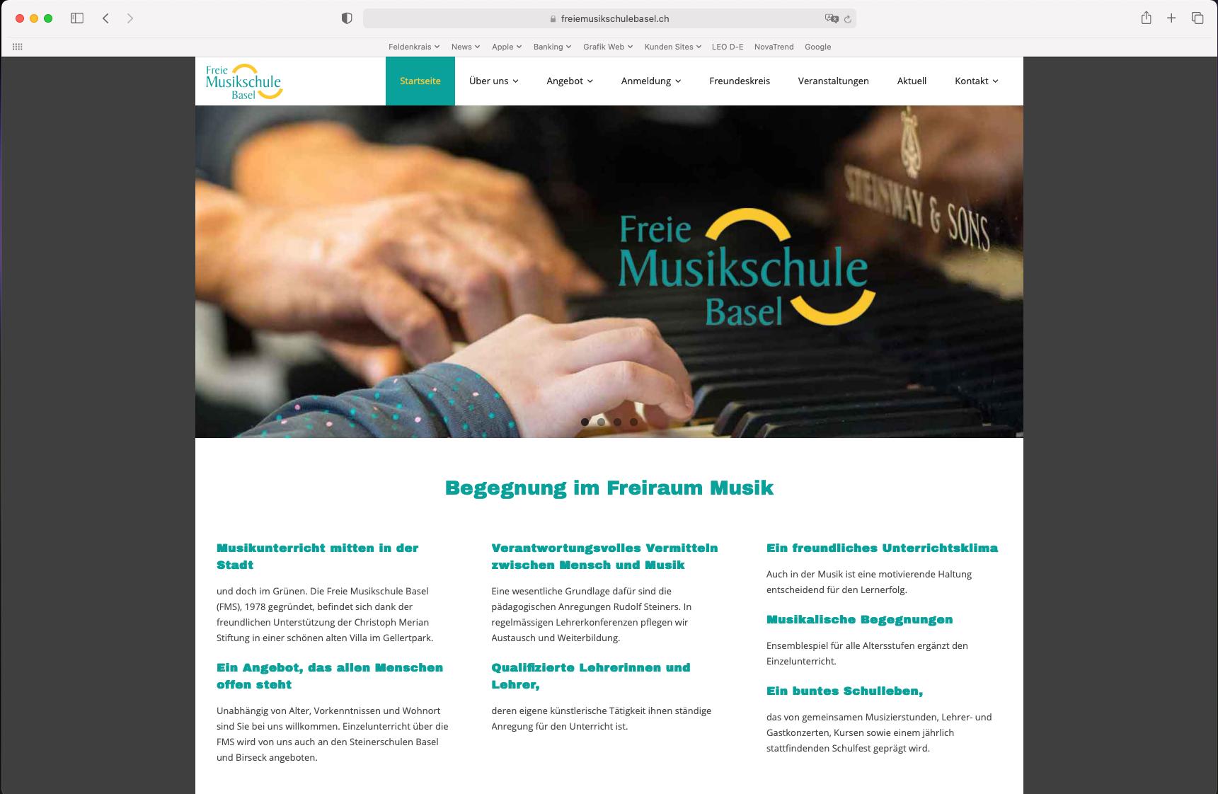 Website Freie Musikschule Basel
