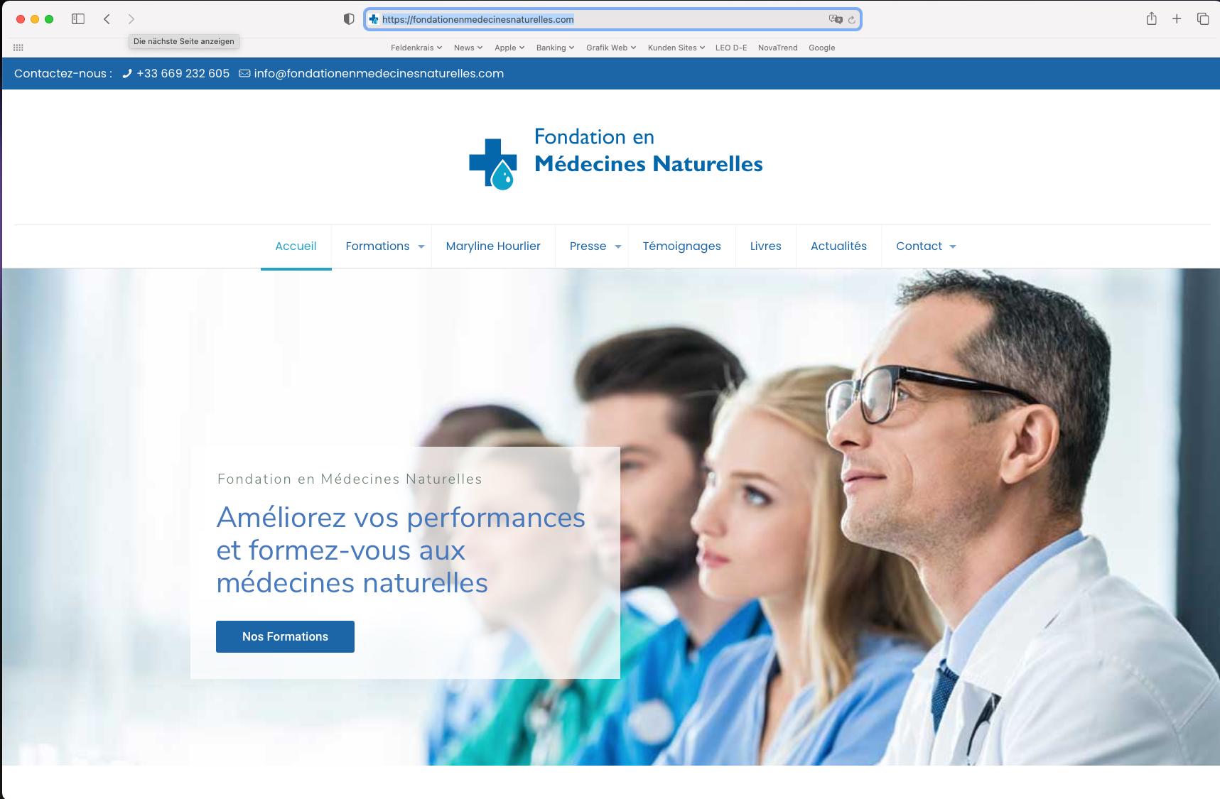 Website Fondation en Médecines Naturelles, Le Vésinet, France