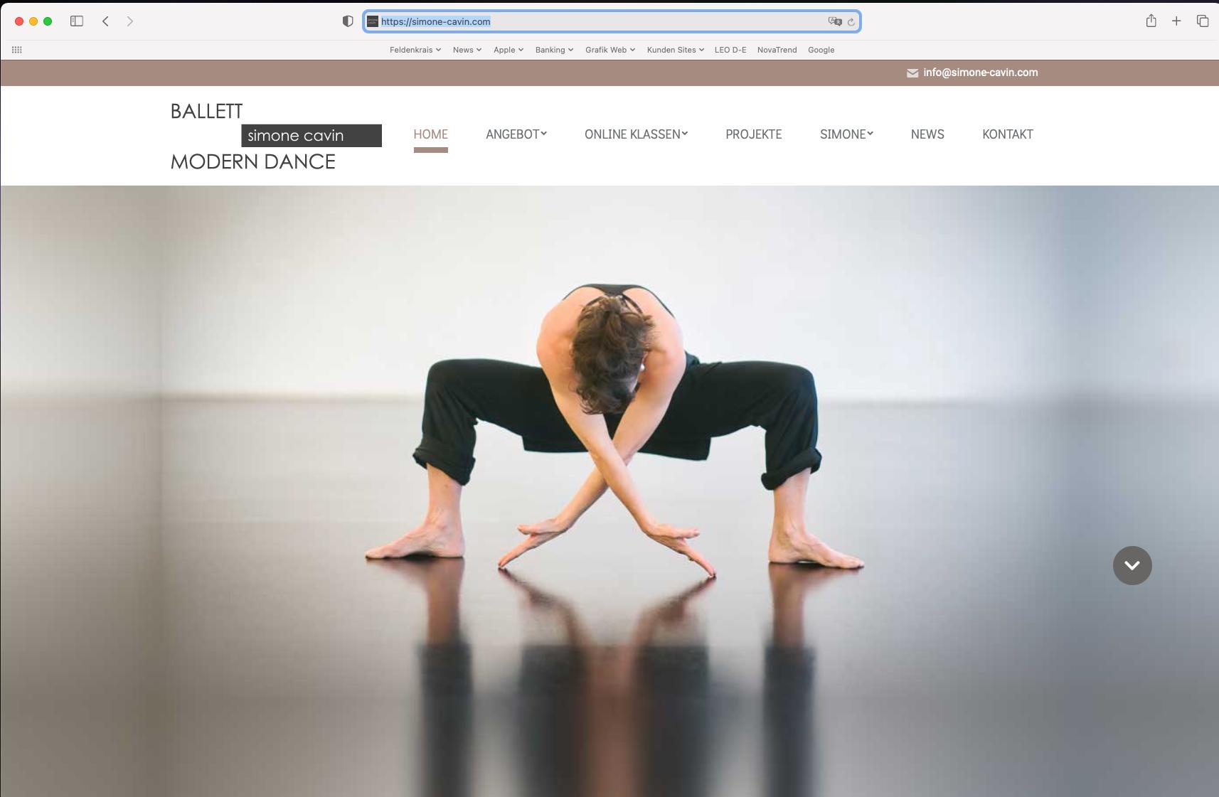 Website Simone Cavin Ballett Modern Dance Basel