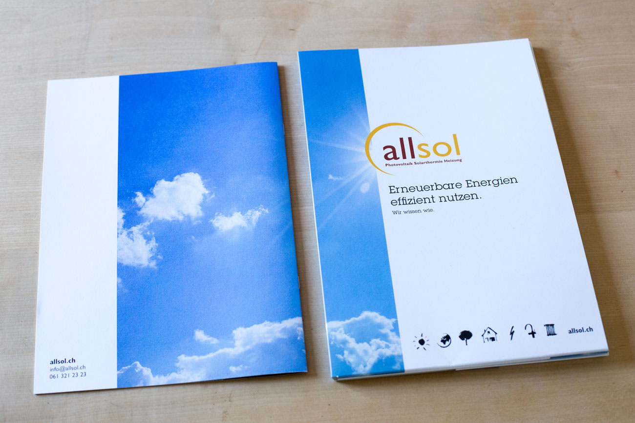 Mappe und Prospekt Allsol GmbH Reinach   Photovoltaik + Heizungssysteme