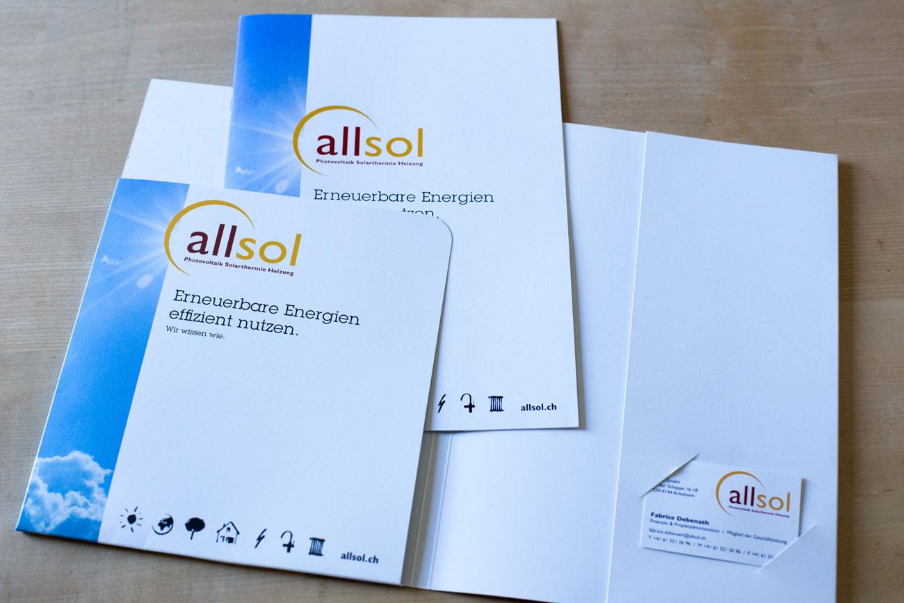 Mappe, Visitenkarten und Prospekt Allsol GmbH Reinach   Photovoltaik + Heizungssysteme