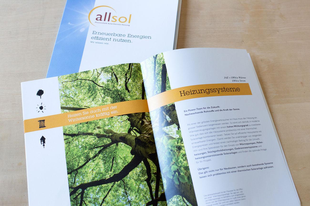Prospekt innen Mappe, Visitenkarten und Prospekt Allsol GmbH Reinach   Photovoltaik + Heizungssysteme