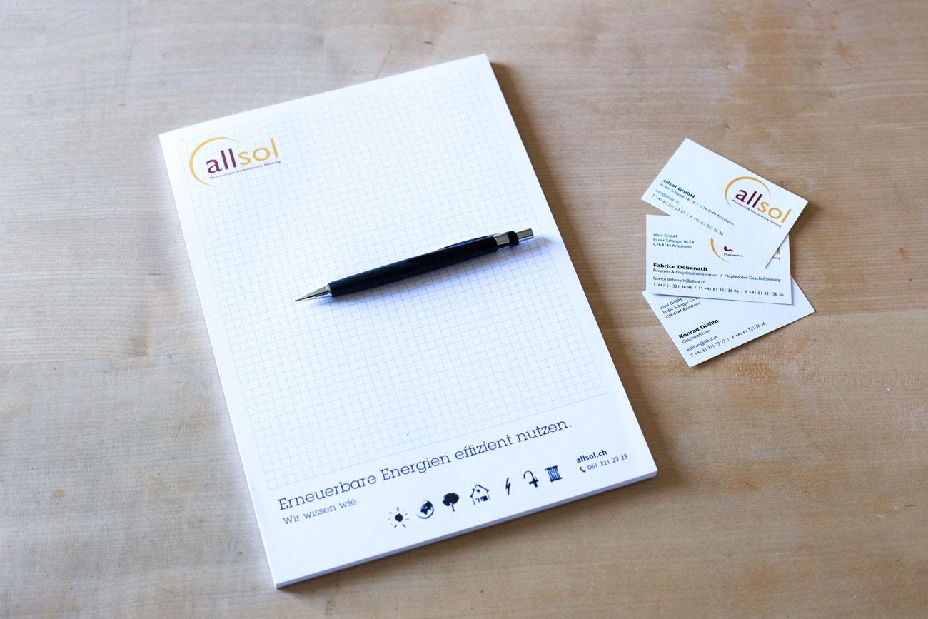 Schreibblock und Viistenkarten