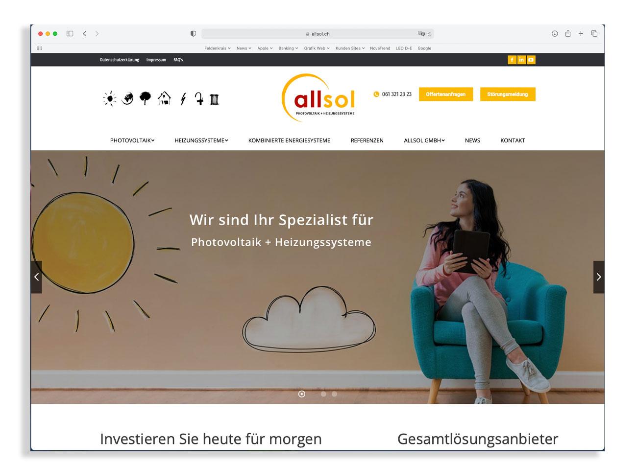 Neue Website Allsol GmbH Reinach | Photovoltaik + Heizungssysteme