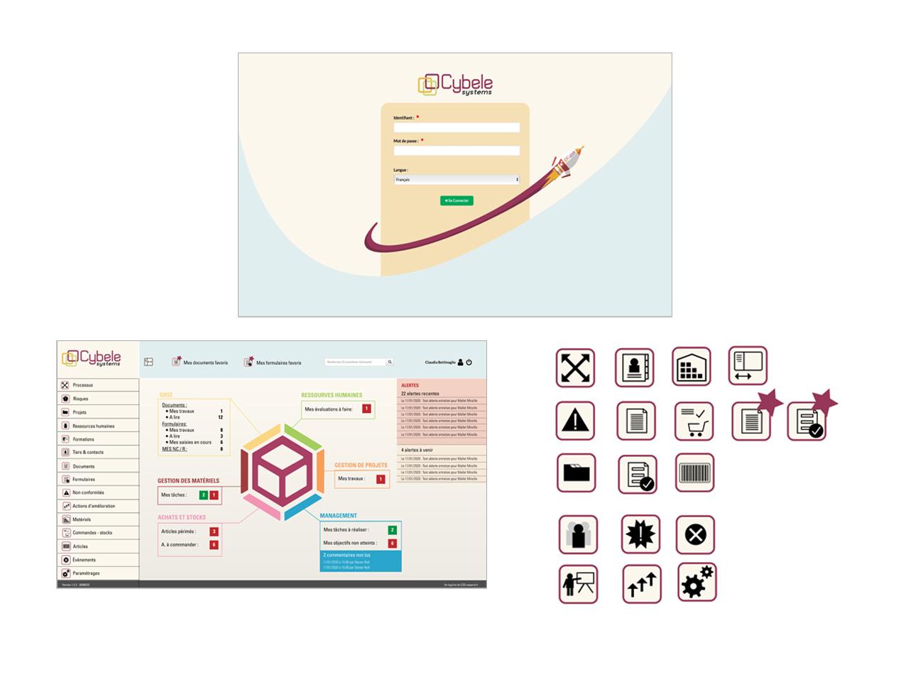 Gestaltung der Grafikfür das Programm Aussehen des Programms Logo Cybele Systems LOGICIEL TOUT EN UN DE PILOTAGE DE VOTRE ENTREPRISE