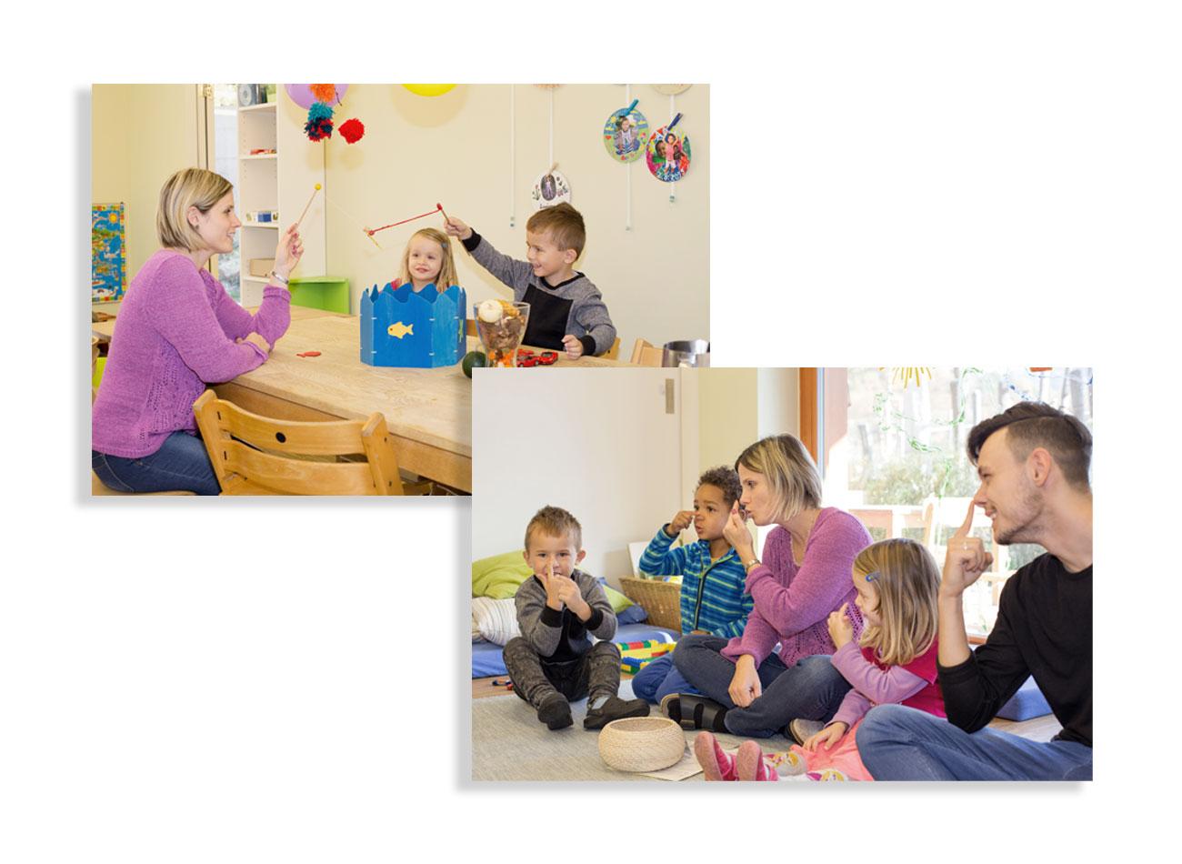 2 Fotografien zum Thema Kinderbetreuung für die Image Broschüre Münchenstein
